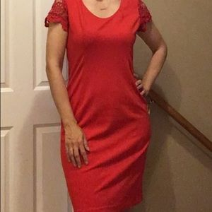 Simple red classic dress